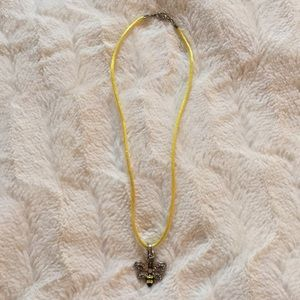 Jewelry - Betsey Johnson Crystal Bee on Silk Rope Pendant